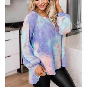 Pink lily boutique tie dye top